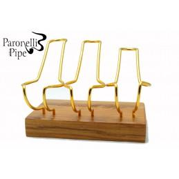 Porta pipe Paronelli olivastro 3 posti fatto a mano