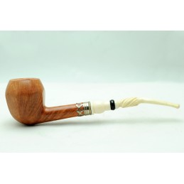 Briar and ivory pipe half bent octagonal year 1955 by Paronelli Pipe