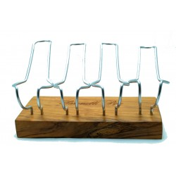 Pipe stand Paronelli wild olive wood 4 pipes handmade