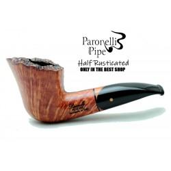 Briar pipe Paronelli REVERSE HALF RUSTICATED handmade